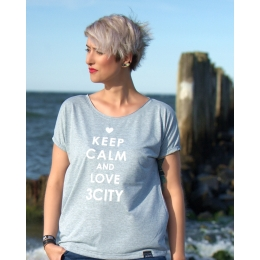 Keep calm and love 3city t-shirt niebieski